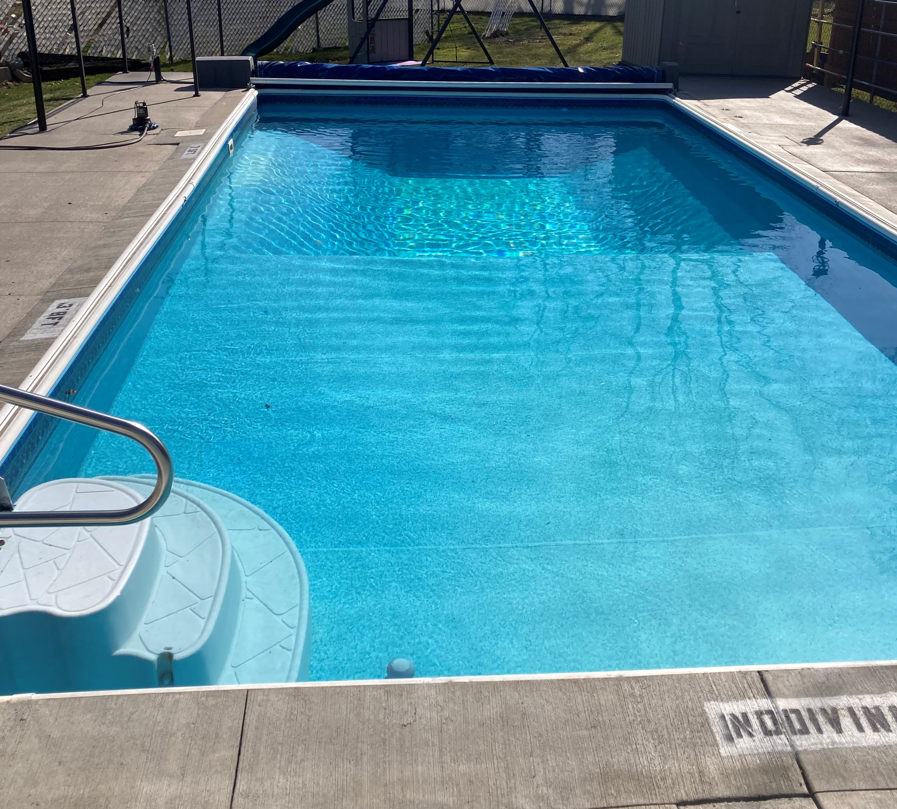 Pool with end coverings